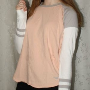 Hollister Light Pink Striped-Arm Shirt